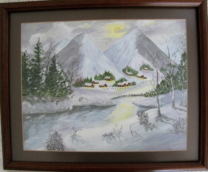 Winter Village Painting, original fine art, realism, landscape, woodland,