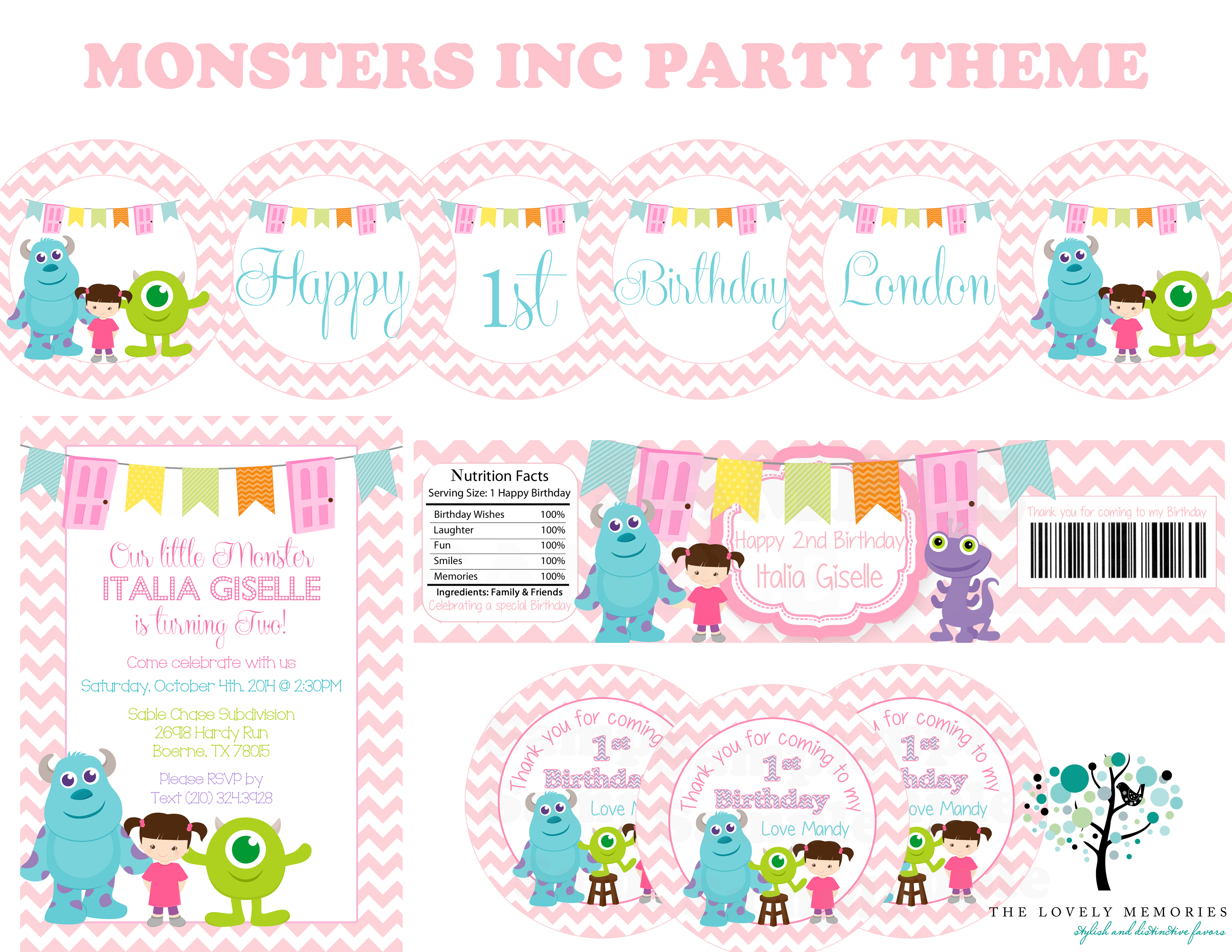 Girls Birthday Monsters Inc Personalized by thelovelymemories on