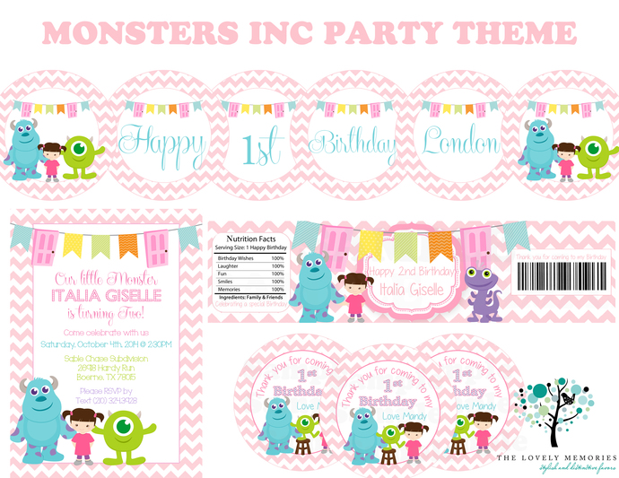 Girls birthday monsters inc personalized by thelovelymemories on girls birthday monsters inc personalized birthday party theme printable file filmwisefo