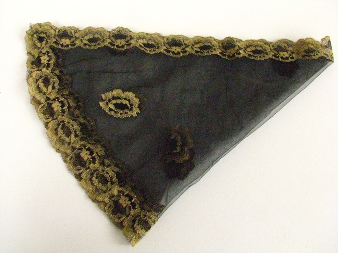 Vintage Scarf - Sheer Black Neck Kerchief with Retro Gold Flowers- a Great