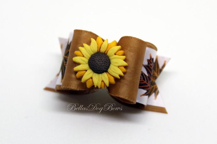 Fall Sunflower Double Loop Dog Bow