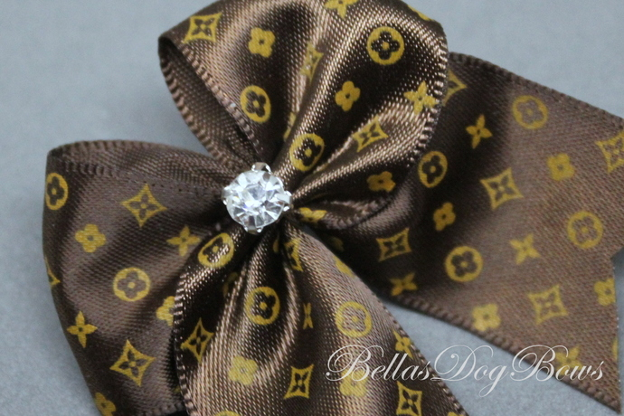 """Large 2.5"""" Dog Bow (Brown - Soft Casual Style)"""