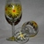Yellow flower hand painted wineglass