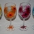 flowers wineglass hand painted set of 4