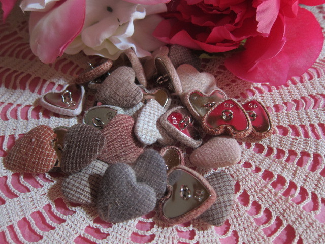 10pcs Fabric Heart Buttons - Earth tones