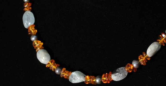 Crazy Train aquamarine amber and pearl necklace