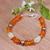 Amber aquamarine and pearl bracelet