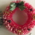 Vintage Lot of 4-  Christmas Glass Bead Flocked Bottle Brush Wreath Ornament