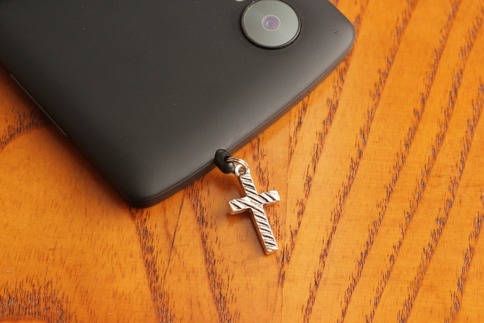 Cell phone charm with antiqued striped cross