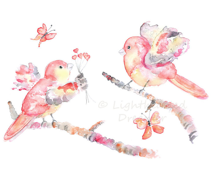 girl's nursery art, Pink Bird Art, bird watercolor, baby girl nursery, bird