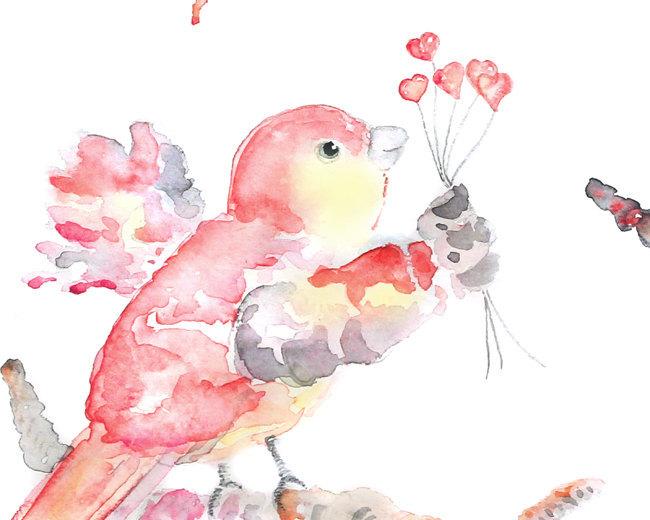 girl's nursery art, Pink Bird Art, bird watercolor, baby girl nursery, bird