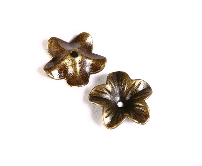 6 antique bronze antique brass flower bead caps beadcaps 18mm - nickel free lead