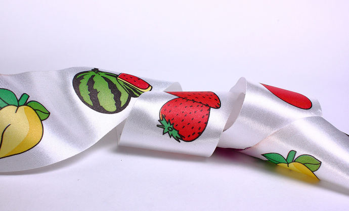 40mm fruit apple pear strawberry watermelon satin ribbon - 10 feet (R008)