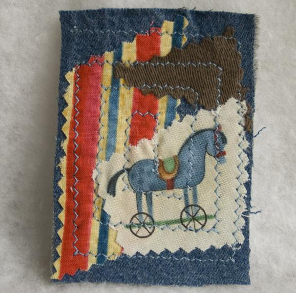 Blue Horse fabric art ACEO