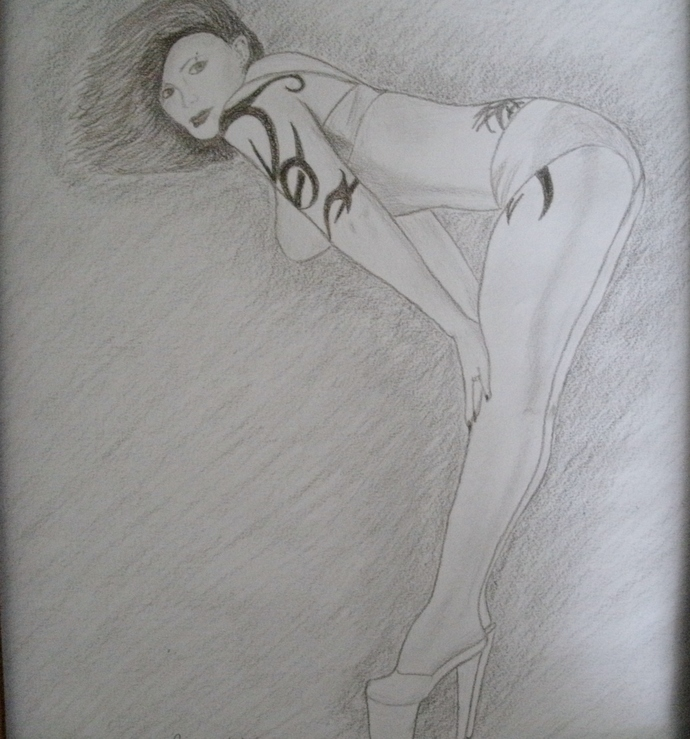 Rockabilly Girl Drawing, original, fine art, realism, portrait, burlesque,