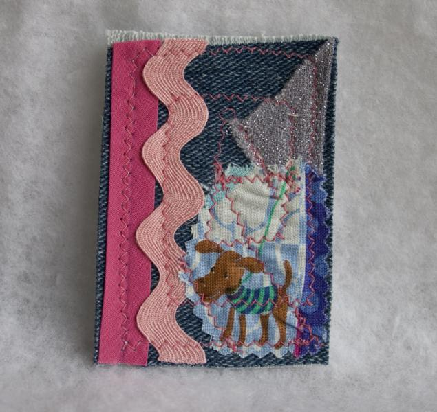 Walk the Dog fabric art ACEO