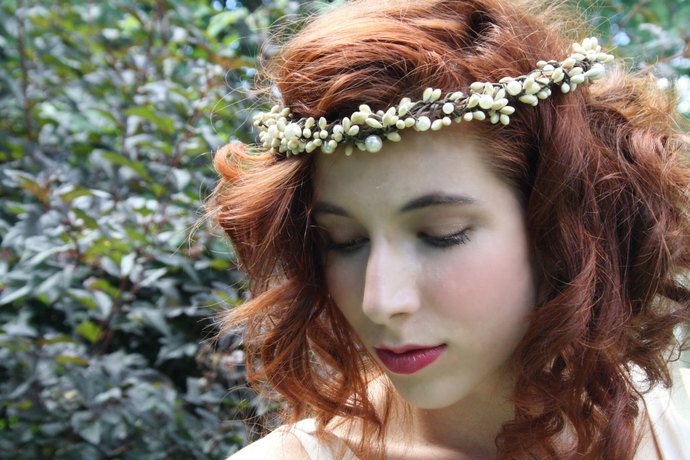Bridal flower crown Ivory flower crown Rustic bridal tiara boho wreath Woodland