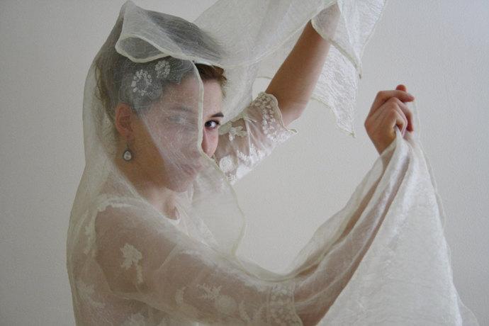 Bridal wrap Off white bridal shawl Light wedding wrap Sheer organza wedding