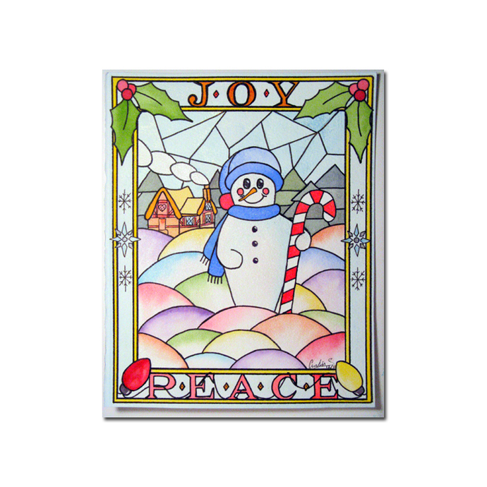 SNOWMAN 4  peace joy stained glass winter candy cane watercolor painting