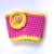 Pink and Yellow Crochet Coffee Cup Sleeve with flower, Cup Cozy