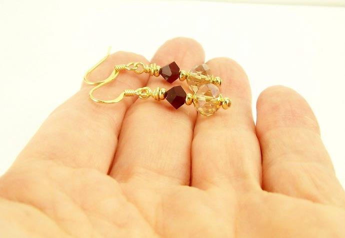 Siam Red and Beige Beaded Crystal Earrings with Gold, Dangle Earrings, Handmade