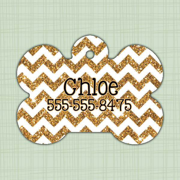 Custom Pet ID Tag bone chevron glitter print, Personalized Dog Tag,