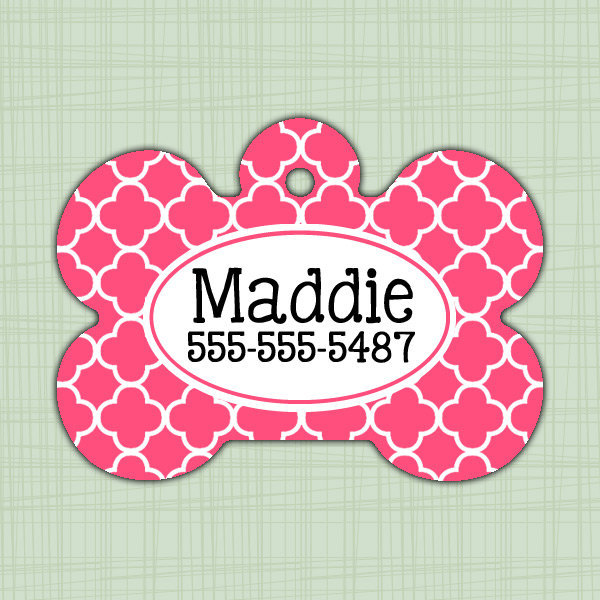 Custom Pet ID Tag quatrefoil print, Personalized Dog Tag, Identification name