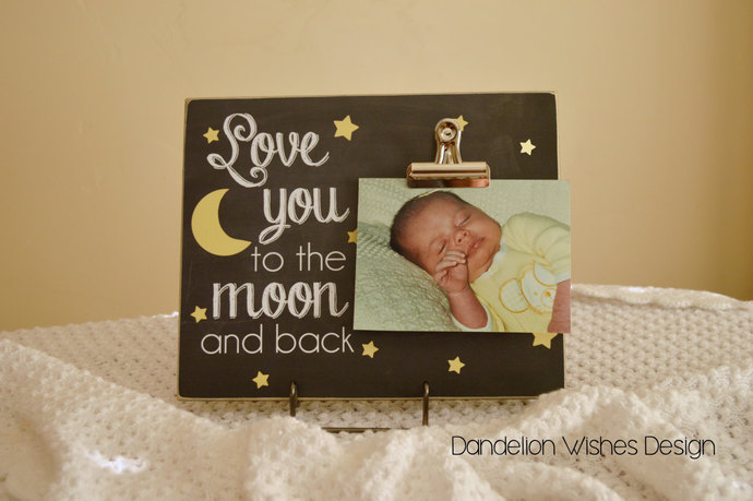 Stars And Moon Photo Clip Board Dandelion Wishes Design