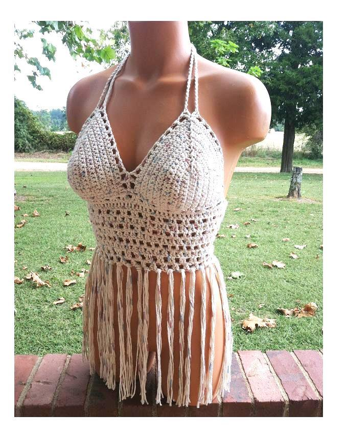 Crochet Fringe Top, Festival Crochet Halter Top, Fringe Crochet Tank Top by