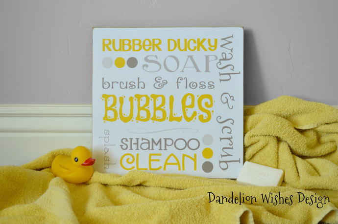 Yellow And Gray Bath Subway Art Board   Rubber Ducky Bathroom Decor, Wall
