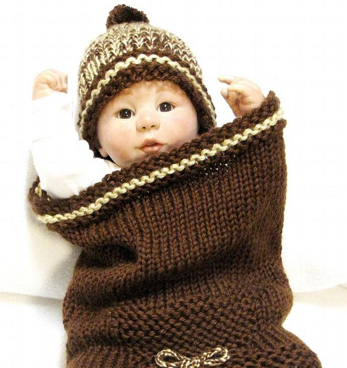 Knitting Pattern, Baby Cocoon & Matching Beanie, Cocoon is featured with TEDDY