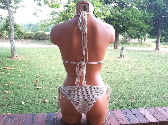 High Neck Crochet Cheeky Bikini, Brazilian Crochet Bikini by Vikni Designs