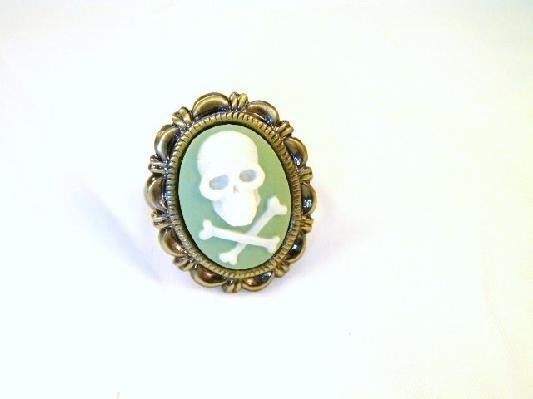 Olive Green Skull Cameo Ring