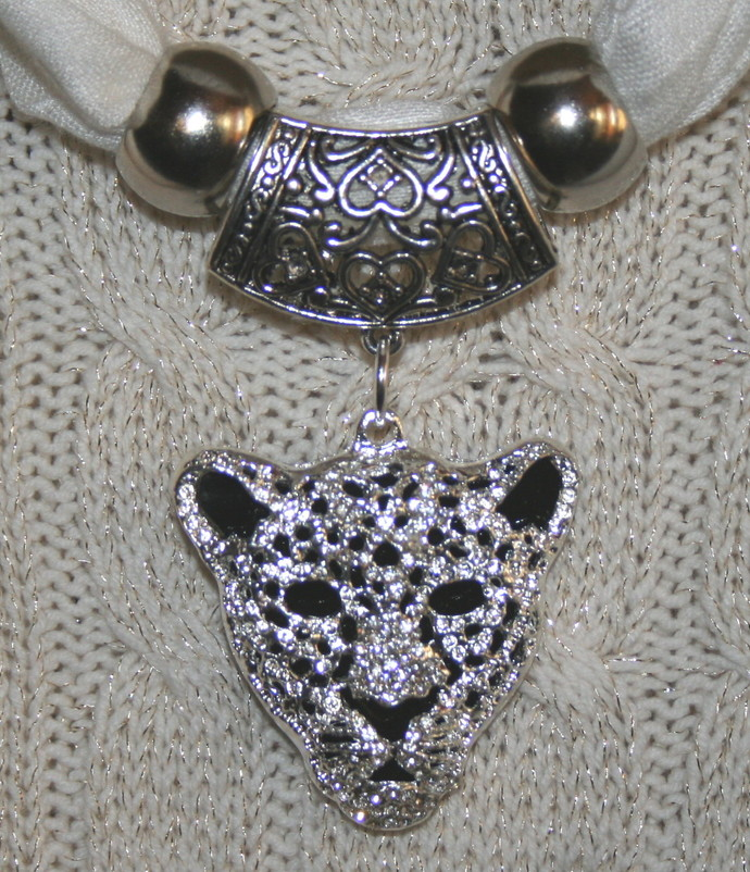 Scarf jewelry silver color rhinestone tiger by 123gemstones on zibbet scarf jewelry silver color rhinestone tiger leopard face scarf pendant aloadofball Images