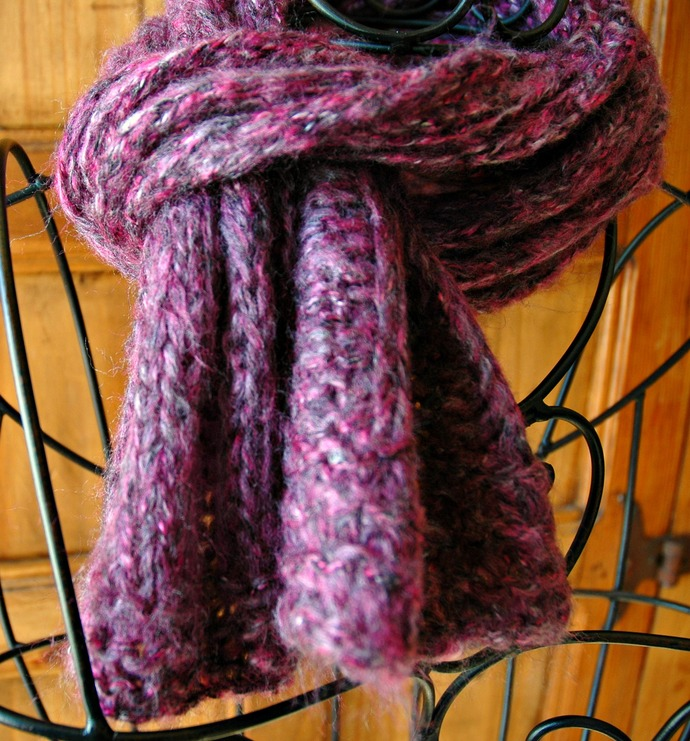 Knit Scarf, Magenta, Gray, Black Very Soft Wide Ribbed Stitch