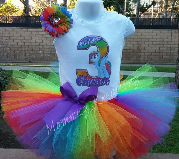 944f0c3d1656 My Little Pony Birthday Outfit, Rainbow Dash tutu set, Rainbow Dash Birthday