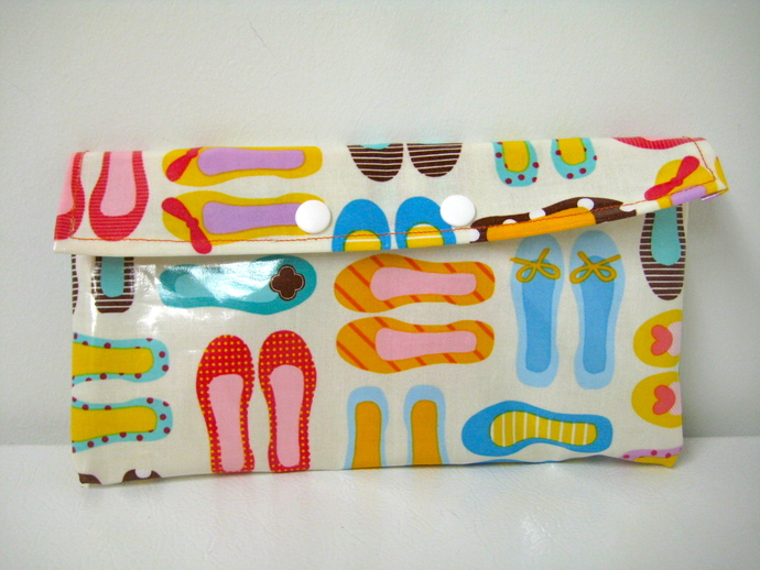 Fashion Flats Printed Wet Bag - Cosmetics, Snack or Mama Cloth Storage Pouch