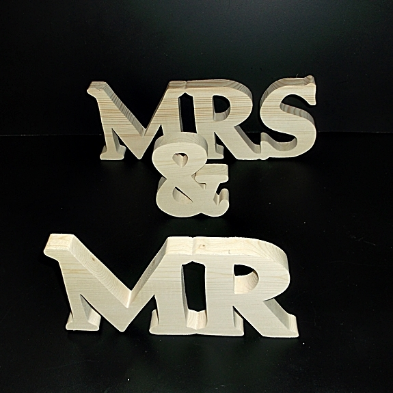 Mr & Mrs Wedding Reception Stand Alone Wood Letters Unfinished Style 1 Stk No.