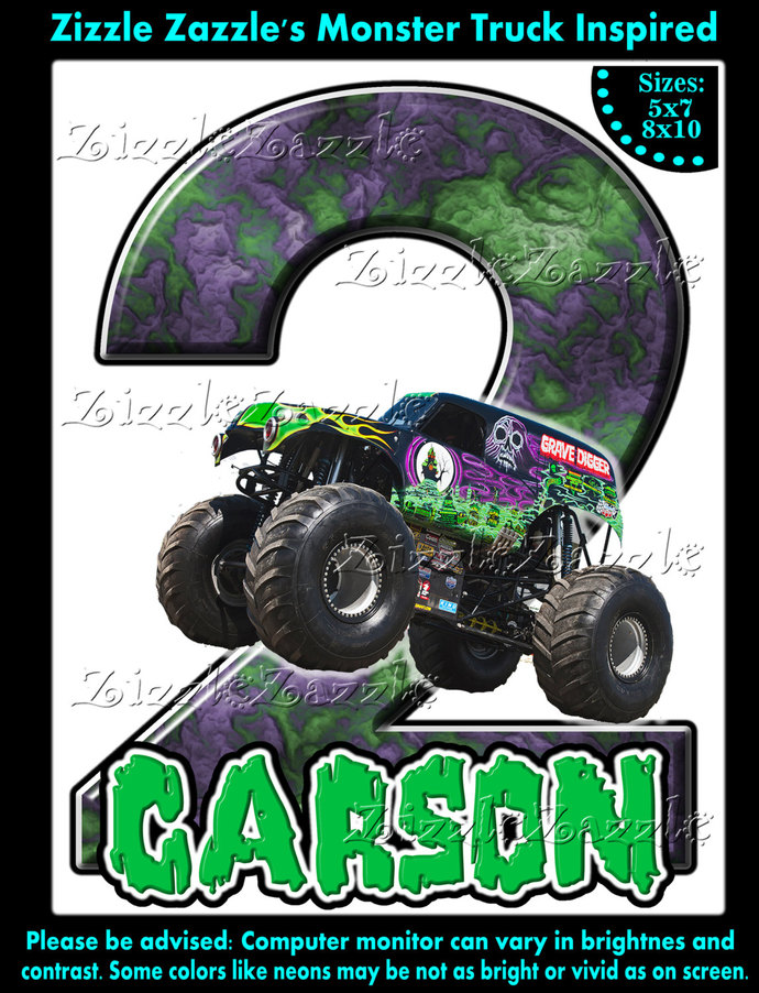 Monster Truck Jam Grave Digger Birthday Party T Shirt Iron On Transfer OR DIY