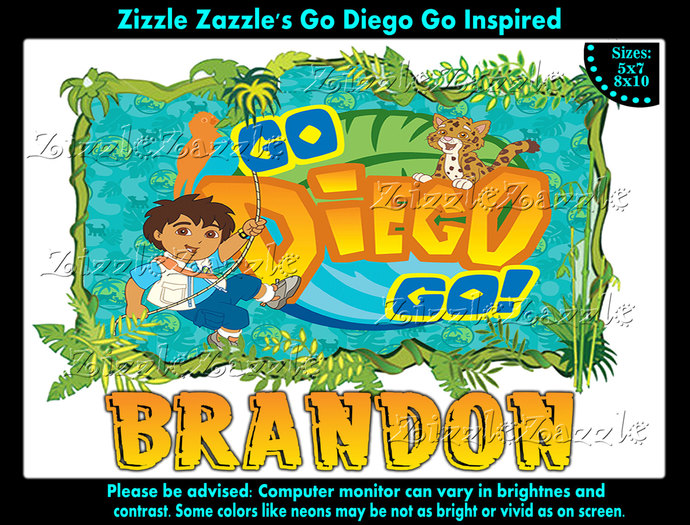 By Zizzle Zazzle Go Diego Inspired Birthday Boy Party T Shirt Iron On Transfer OR DIY FILE