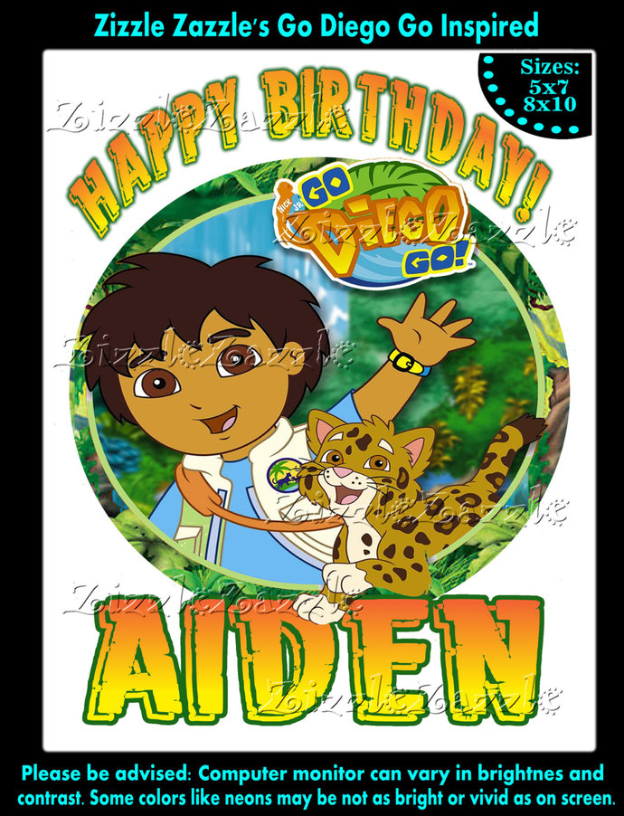 Go Diego Inspired Birthday Boy Party T Shirt Iron On Transfer OR DIY FILE