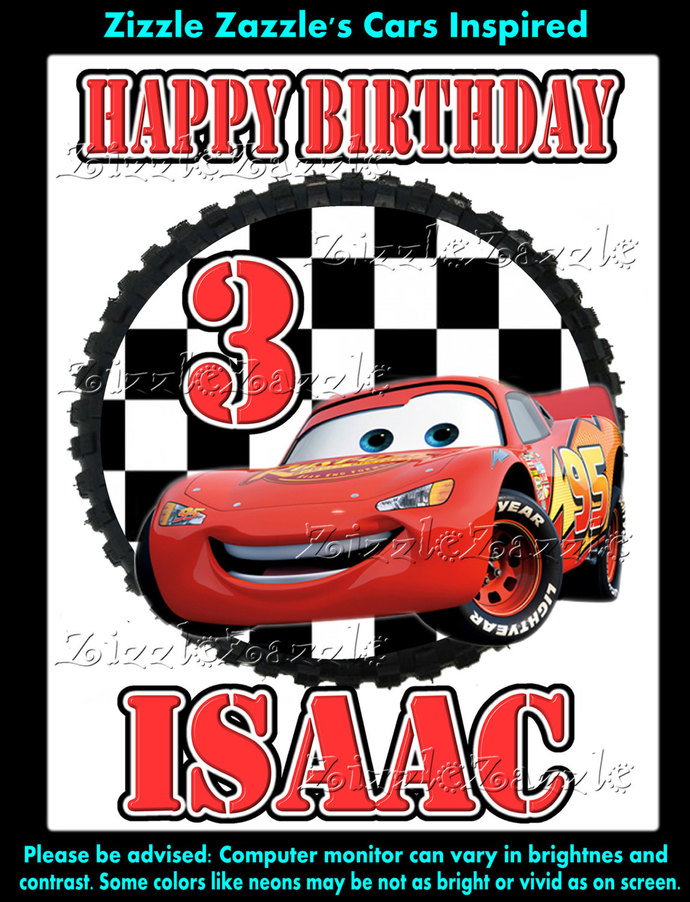 Cars Lightning Mcqueen Birthday Party T Shirt Iron On Transfer OR DIY FILE