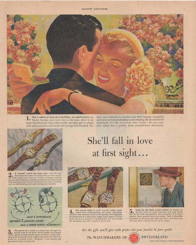 SWISS WATCH Magazine Print Ad Vintage 1950s COLOR Advertisement
