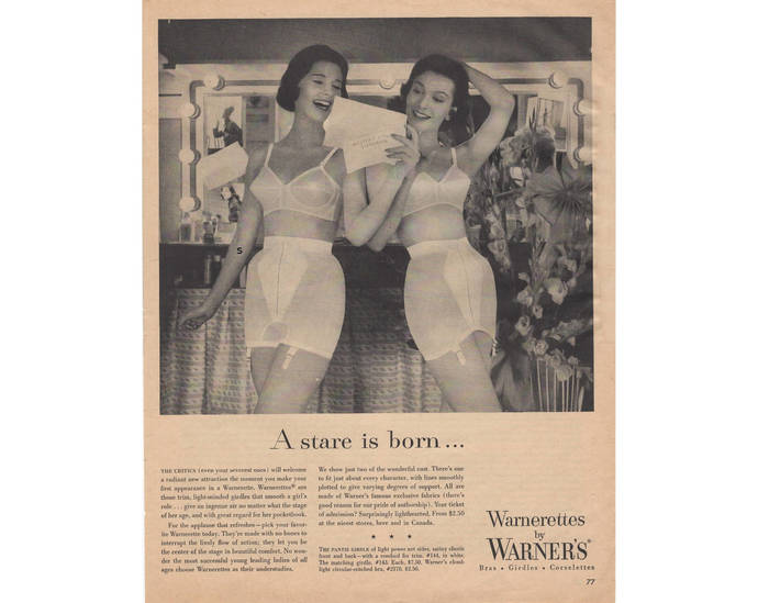 Warners Bras Girdles Corselettes Vintage 1950s Magazine Print Ad