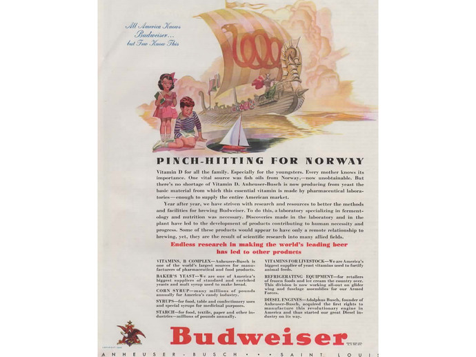 Vintage 1940s Budweiser Beer Ad, Magazine Advertising Print, Breweriana Viking