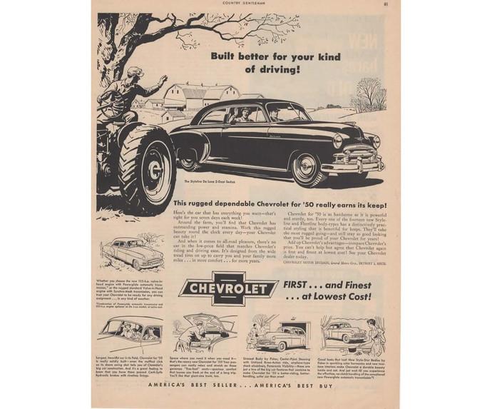1950 Chevy Styleline De Luxe Ad, Vintage Car Print Ad, Man Cave Decor, Car Print