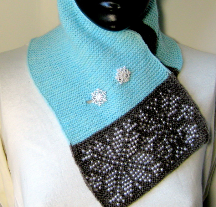 Snowflake, hand knitted scarf