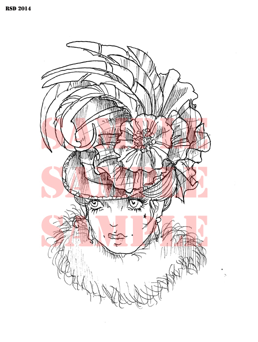 Palm Court Hat lady digital stamp