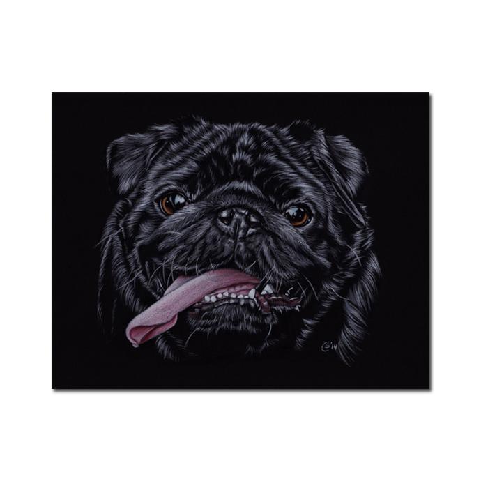 PUG 11 black puppy dog chien carlin painting Sandrine Curtiss ORIGINAL Art 8x10