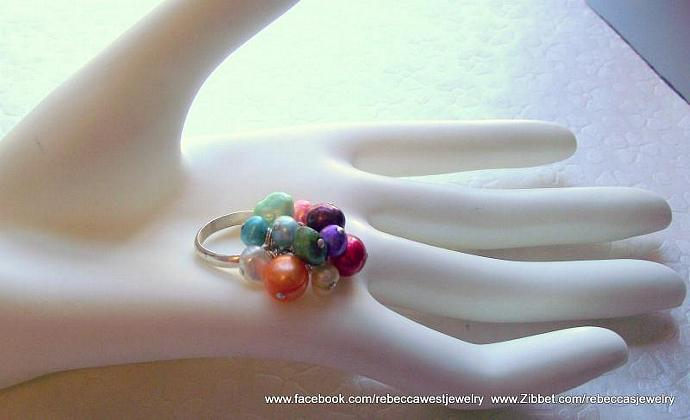 Finger Candy ~ Sterling Silver Ring with multiple charms of assorted fresh water